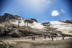Summer snow in mountains area of Austrian Tyrol Stock Image