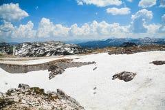 Summer snowy landscape of a mountain plateau Dachstein Krippenstein, Austria Royalty Free Stock Photo
