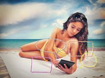 Summer and social network royalty free stock image