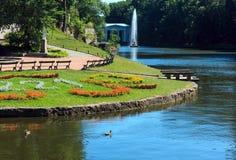 Summer Sofiyivka Dendrology Park, Fountain stock photo