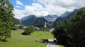 Summer in Soglio (Graubunden, Switzerland). Soglio is a former municipality in the district of Maloja in the Swiss canton of Graubunden close to the border with Royalty Free Stock Image