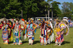Summer Solstice Aboriginal Arts Festival. Native men stand before judges after performing traditional dance in Summer Solstice Aboriginal Arts Festival for Royalty Free Stock Photos