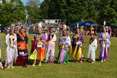 Summer Solstice Aboriginal Arts Festival. Native women stand before judges after performing traditional dance at Summer Solstice Aboriginal Arts Festival for Stock Images