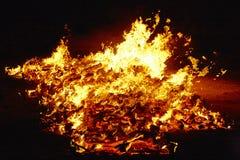 Summer solstice celebration in Spain. Fire flames. Horizontal. Summer solstice celebration in Spain. Fire flames detail. Horizontal royalty free stock image