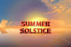 Summer solstice with dramatic sunset. Background royalty free stock image