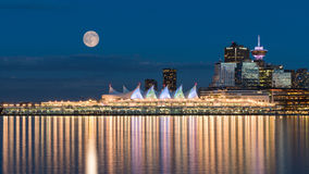 Summer Solstice full moon over downtown Vancouver. Vancouver Canada, June 20th 2016, Full Moon And Summer Solstice To Coincide For First Time In Decades over royalty free stock image