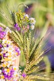 Summer solstice, girls` head decorative wreaths. One wreath of white daisies and violent flowers; the second crown of the cornflowers royalty free stock photography