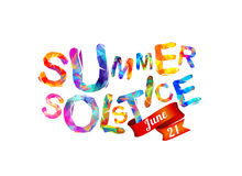 Summer solstice. June 21. Vector triangular letters royalty free illustration