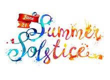 Summer solstice. June 21. Vector watercolor splash paint. Summer solstice. June 21. Hand written vector doodle font inscription of splash paint letters royalty free illustration