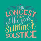 Summer solstice lettering. Elements for invitations, posters, greeting cards Royalty Free Stock Image