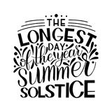 Summer solstice lettering. Elements for invitations, posters, greeting cards Royalty Free Stock Photos