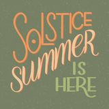 Summer solstice lettering. Elements for invitations, posters, greeting cards Stock Image