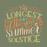 Summer solstice lettering. Elements for invitations, posters, greeting cards Royalty Free Stock Photo