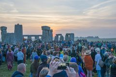 Summer solstice sunrise on Stonehenge. The sunrise at Stonehenge in Wiltshire, England, at the summer solstice Stock Photography