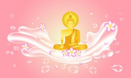 Summer songkran festival thailand. april 11 - 15. respect monk buddha to wich hope health happy and peace. vector illustration vector illustration