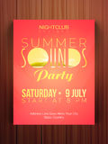 Summer Sounds Party celebration flyer or banner. Stock Photos