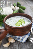 Summer soup with cucumbers, yogurt and fresh herbs Royalty Free Stock Images