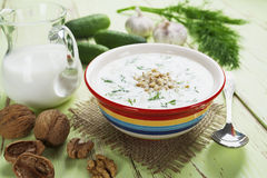 Summer soup with cucumbers, yogurt and walnuts Stock Photo