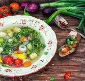 Summer soup with fresh vegetables Stock Image