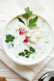 Summer soup with yogurt, Okroshka Stock Photo
