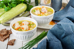 Summer Soup with Zucchini, Pasta and Meatballs Royalty Free Stock Photo