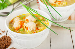 Summer Soup with Zucchini, Pasta and Meatballs Stock Photo