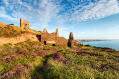 Summer on the South West Coast Path. At Wheal Coates tin mine ruins near St Agnes in Cornwall Stock Photos