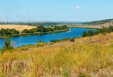 Summer Southern Bug river, Ukraine. Summer Southern Bug river lowland near Rakove river crayfish in translation from the Ukrainian language village, Mykolaiv Stock Photo