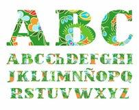 Summer, the Spanish alphabet, capital letter, vector, font, color. Stock Photos