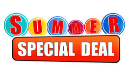 Summer special deal orange banner with color circles. Summer special deal - 3d orange banner with white text and color circles, business concept royalty free illustration