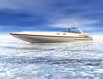Summer Speed Boat. 3D render of speed boat anchoring in shallow waters Royalty Free Stock Images