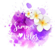 Summer splash background with flowers. Watercolor imitation splash background with handwritten modern calligraphy message `Summer vibes` and frangipani flowers stock illustration