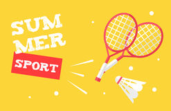 Summer sport banner with badminton rackets and shuttlecock. Flat style. Vector background Royalty Free Stock Photos