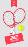 Summer sport banner with rackets and tennis ball on gray background. Flat style. Vector Stock Photos