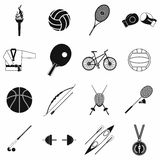 Summer sport black simple icons set Stock Images