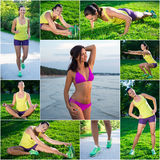 Summer and sport concept - collage of slim beautiful sporty woma Stock Image