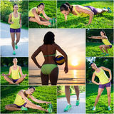 Summer and sport concept - pictures of slim beautiful sporty wom Stock Photo