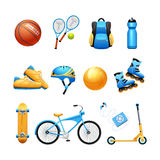 Summer Sport Equipment Flat Icons Set. Summer outdoor activities sport equipment flat icons collection with tennis rackets and bicycle abstract isolated vector Stock Photography
