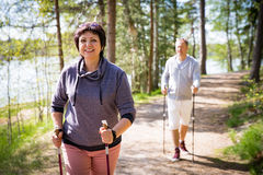 Summer sport in Finland - nordic walking. Stock Images