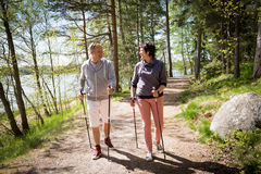 Summer sport in Finland - nordic walking. Stock Image