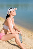Summer sport fit woman enjoy sunset Stock Photos