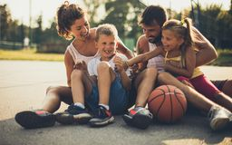 Summer, sport fun. Family on playground stock photos