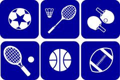 Summer sport icons set on blue background