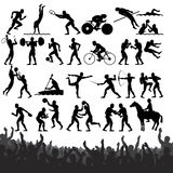 Summer Sport Silhouettes. Set of People Silhouettes of Summer Sport Stock Photography
