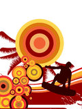 Summer sports. Vector illustration of a wakeboarder silhouette on a colorful summer background Royalty Free Stock Photos