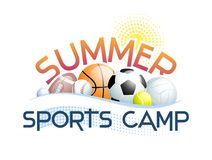 Summer Sports Camp concept with different Sports Balls, abstract Sun and Wave. Vector illustration royalty free illustration