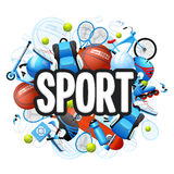 Summer Sports Concept. Summer sports cartoon concept with sports equipment and outfit vector illustration Stock Images