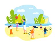 Summer Sports Games on Beach for Whole Family. Vector Illustration on White Background. In Summer Adults and Children in Beach Clothes Play Volleyball and royalty free illustration