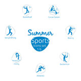 Summer sports icons set, 1 of 6, vector illustration Royalty Free Stock Images