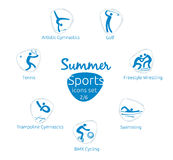 Summer sports icons set, 2 of 6, vector illustration, template Royalty Free Stock Photos